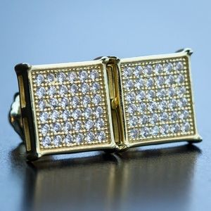 Yellow Gold Square Stud Earrings